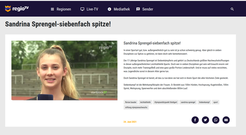 Sandrina Sprengel bei regioTV